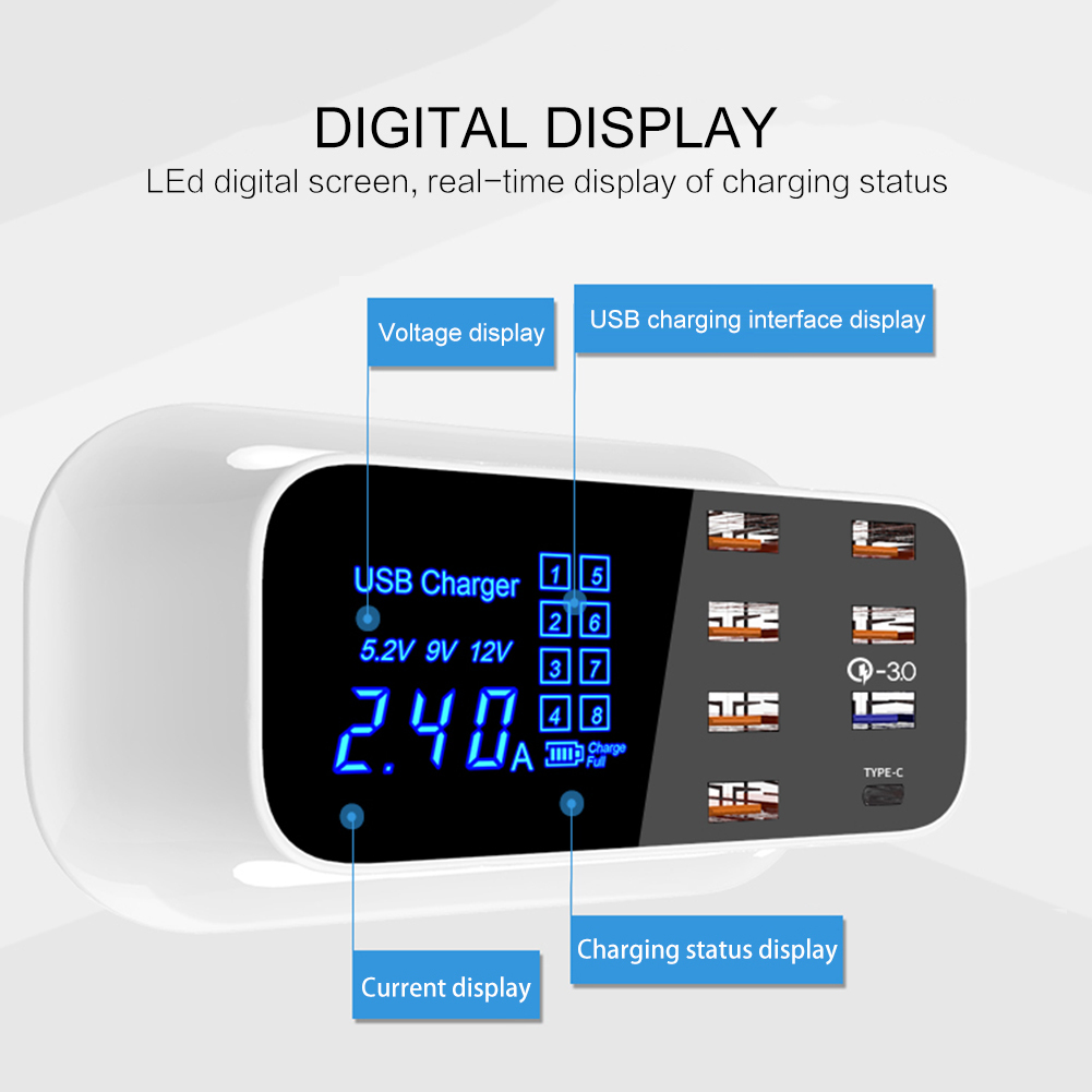 Fast Charging Power Adapter Desktop Strip Mobile Phone Charger Quick Charge 3.0 Smart USB Type C Charger Station Led Display