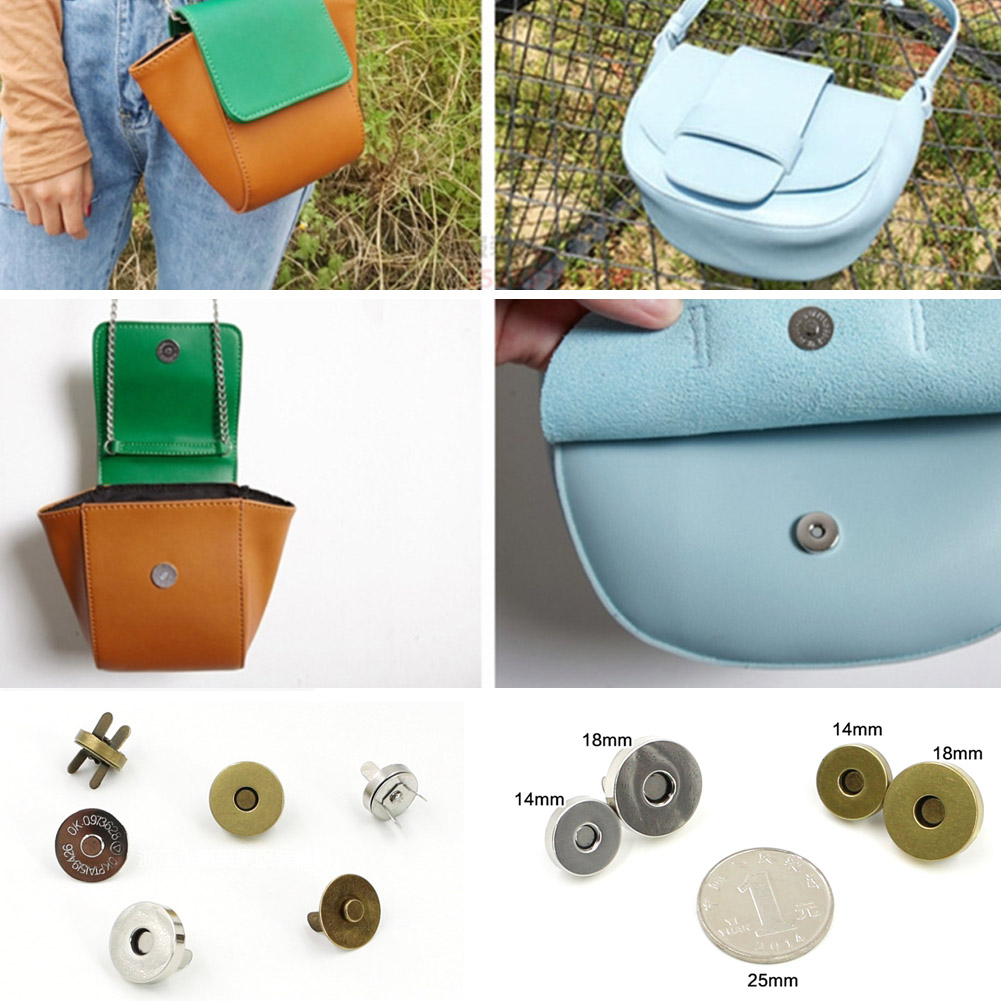 5pcs Magnetic Clasp Purse Snaps Closures 14mm 18mm Round Button Bag Press Stud
