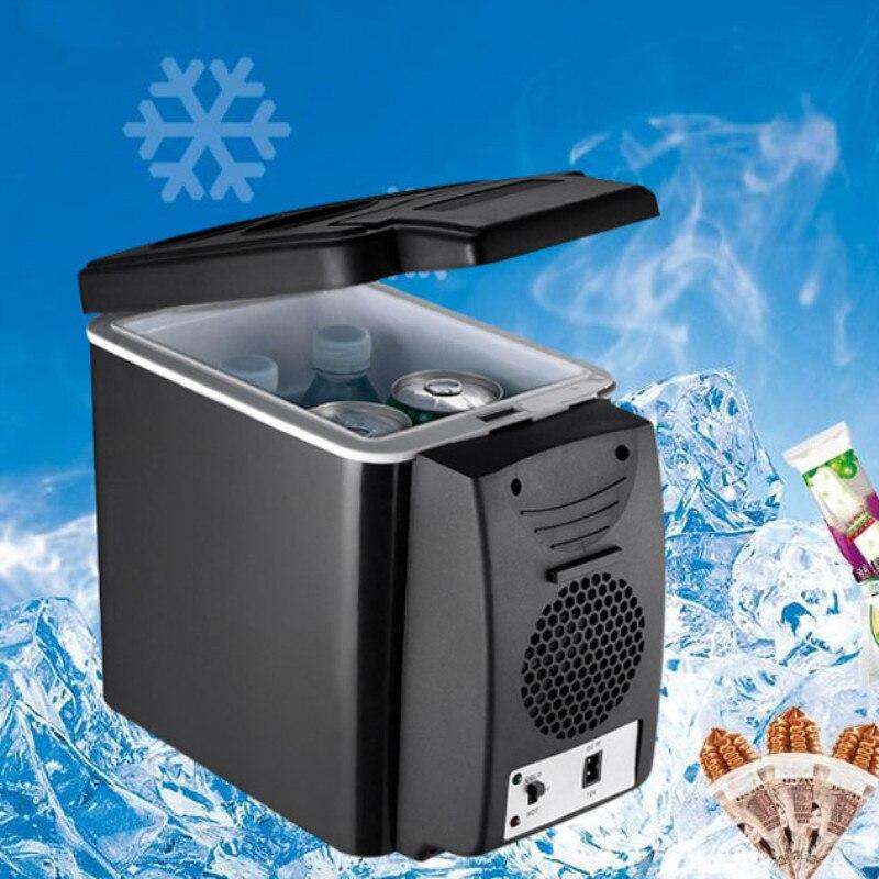 Portable 6L Car Refrigerator 12V Multi Function Temperature Control Dual Use Box Cooler Warmer Vehicular Fridge For Home Travel