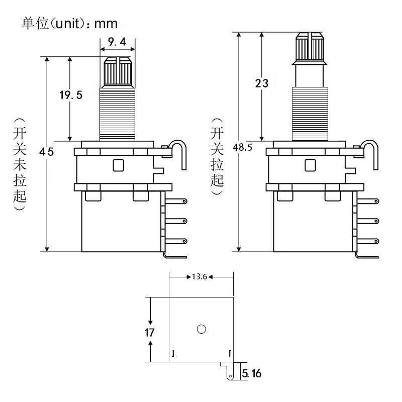 FLEOR 1 Uds potenciómetro de guitarra potenciómetro de empuje potenciómetro A250K/B250K/A500K/B500K eje dividido largo de cobre (sin tirones más)