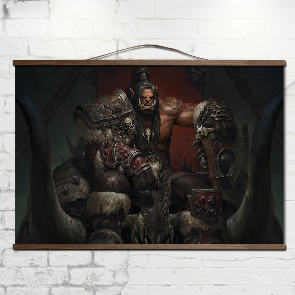 World of WarcraftS With solid wood hanging shaft Lich King Illidancanvas prints posters decoration painting for HD no frame