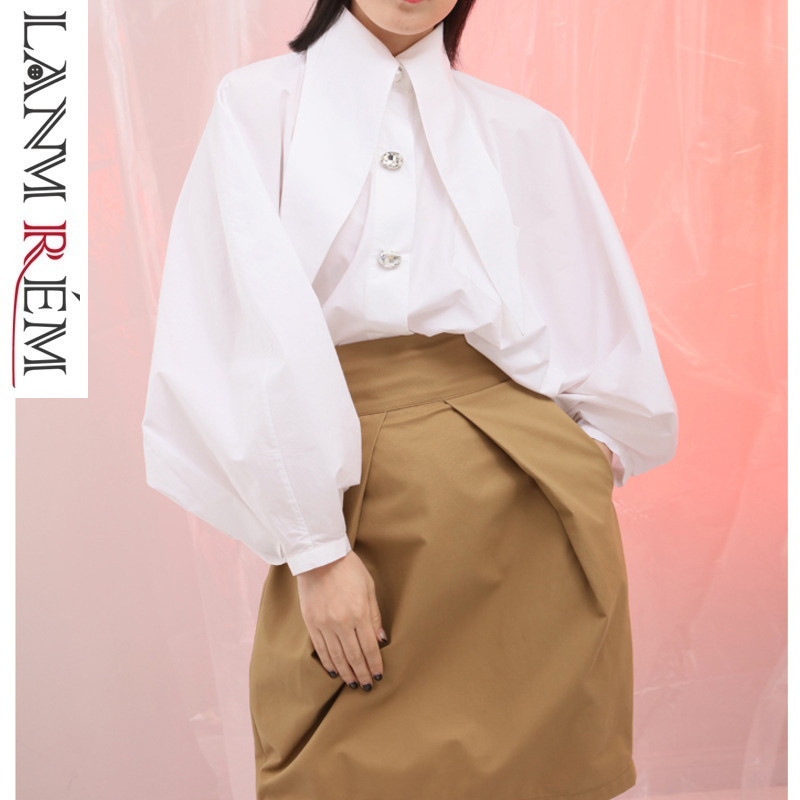 Lanmrem 2019 New Woman Lantern Sleeve Imitation Crystal Glass Claw Drill Buttons Shirt Female Fashion Spring Blouse Sa70900 At Any Cost Women's Clothing