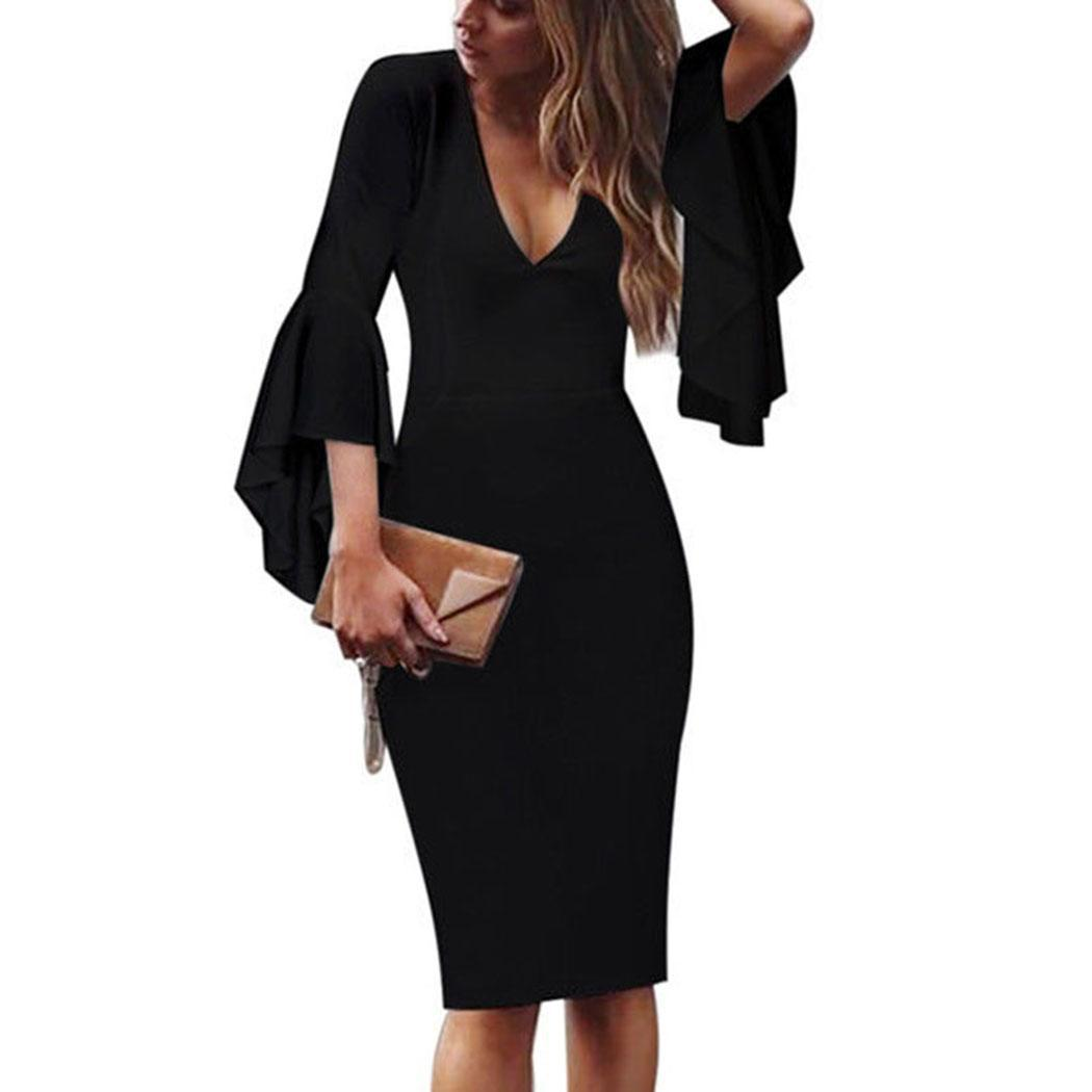 AL'OFA Fashion Elegant   Cocktail     Dresses   Women Casual V-neck Flare Sleeve Package Hip Bodycon Party Gown Homecoming   Dresses