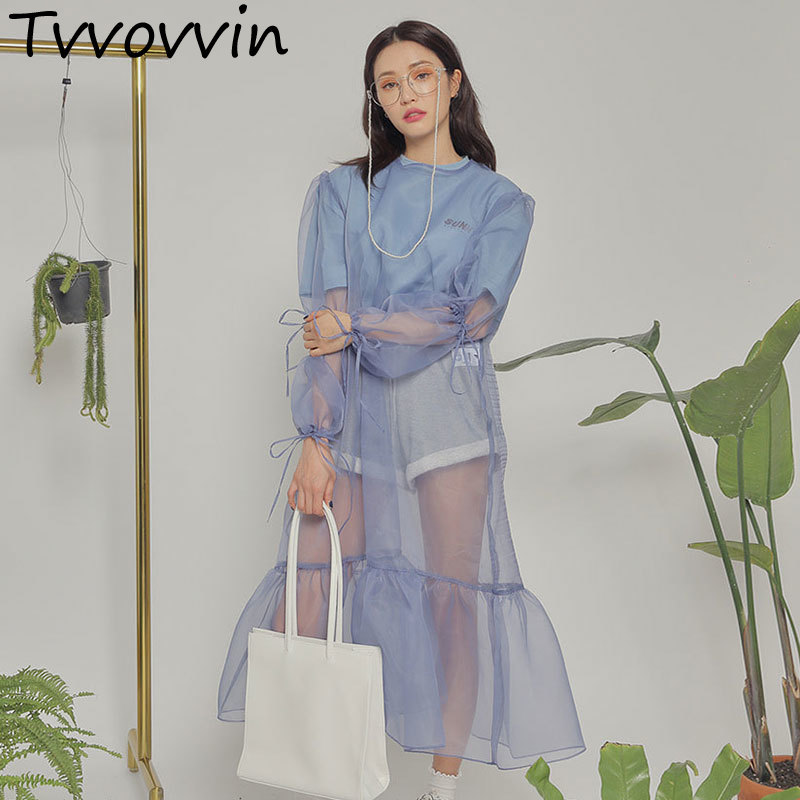 Organza Transparent Dress For Women 2019 Summer Sunscreen Clothing Loose Puff Sleeve Ruffles Solid Dresses 4 Colors Q514