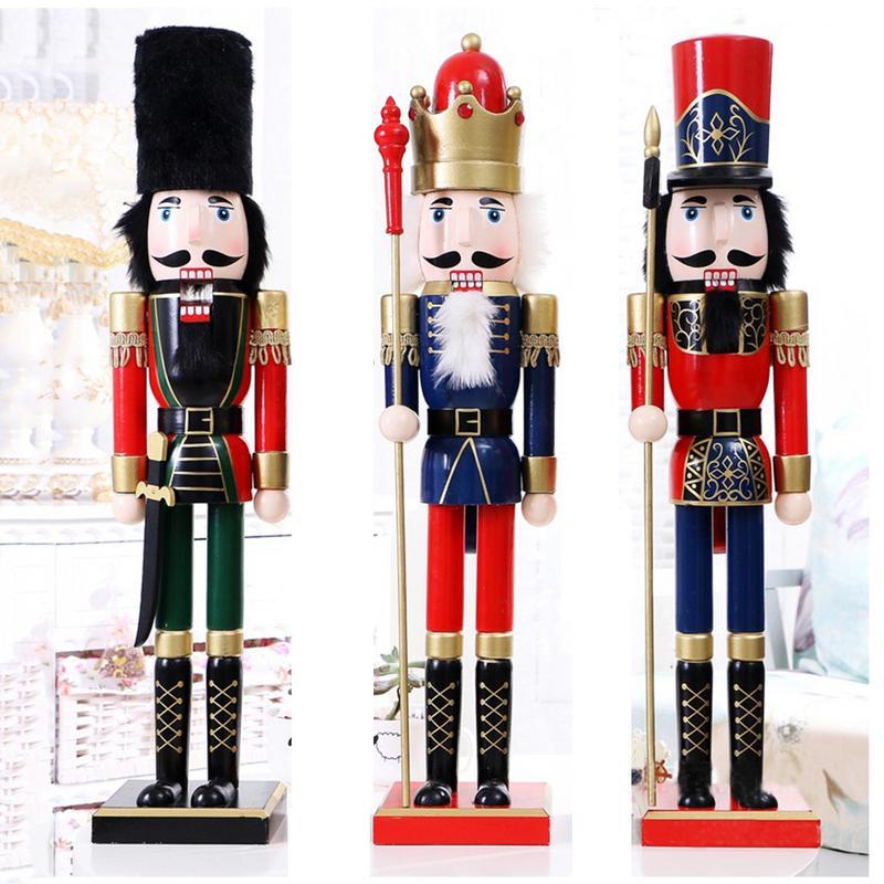 60CM British Style Nutcracker Puppet Christmas Wooden Handmade Crafts Xmas Home Shop Desktop Ornament Christmas Birthday