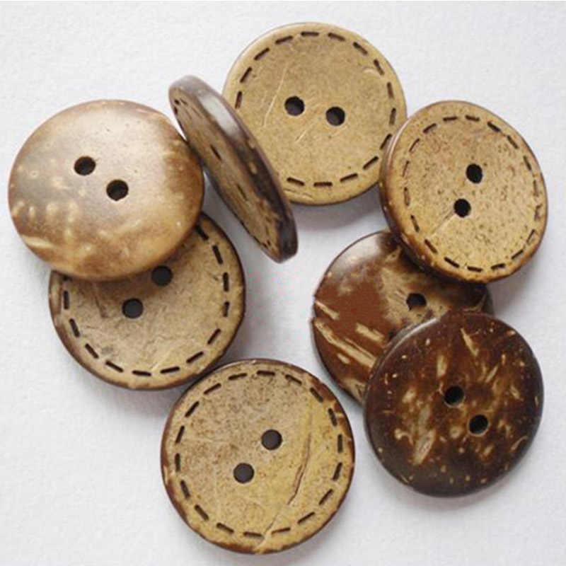50 adet Ahşap Düğmesi Hindistan Cevizi Düğmesi Sevimli 2 Deliği Giysi Düğmesi Aksesuarları El Dikiş