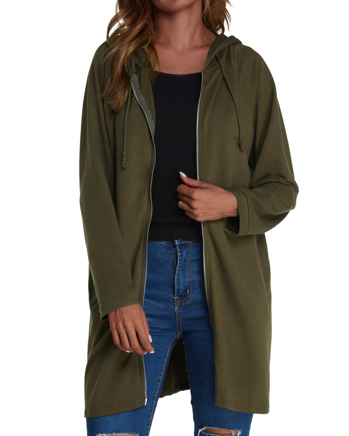 Casual   Trench   Coats Women ZANZEA 2019 Spring Autumn Straight Hooded Long   Trench   Solid Color Zipper Pockets Cardigan Coats Female