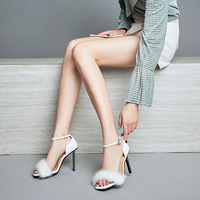 Sexy Women Sandal Shoes in Open toe and Thin Heels with Feather Solid Color ankle Buckle Strap High Heel Size 34 41