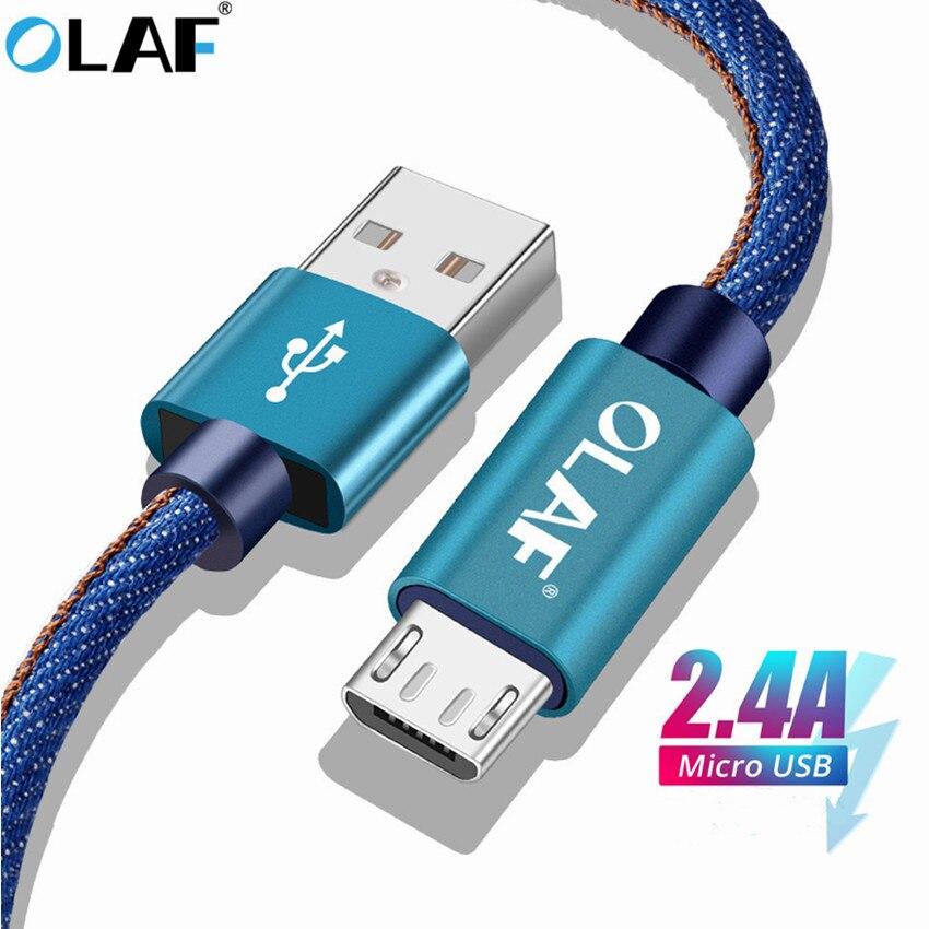 Кабель Micro USB Olaf 0,25 м 1 м 2 м ковбой Быстрая зарядка мобильный телефон кабель для телефона Android для samsung xiaomi huawei планшет зарядное устройство каб...