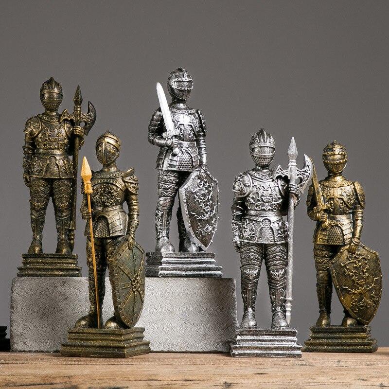 Médiévale européenne étain samouraï guerrier Sculpture poupée cavalerie soldat chevaliers soldat étain résine Statue décorations pour la maison