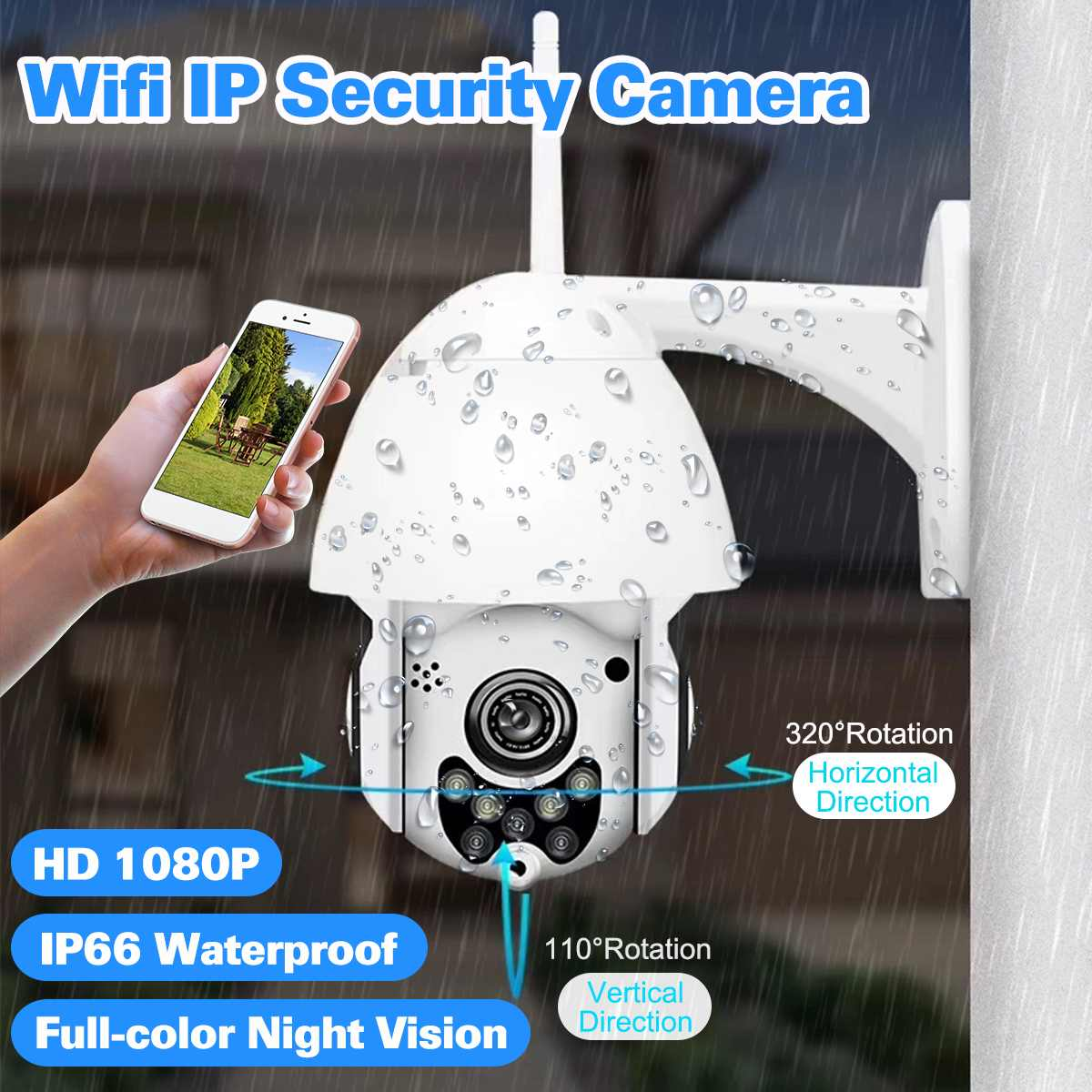 WIFI Caméra Extérieure PTZ IP Caméra 1080 p Vitesse Dôme CCTV caméras de sécurité IP Caméra WIFI Extérieur 2MP IR Maison Surveilance onvif
