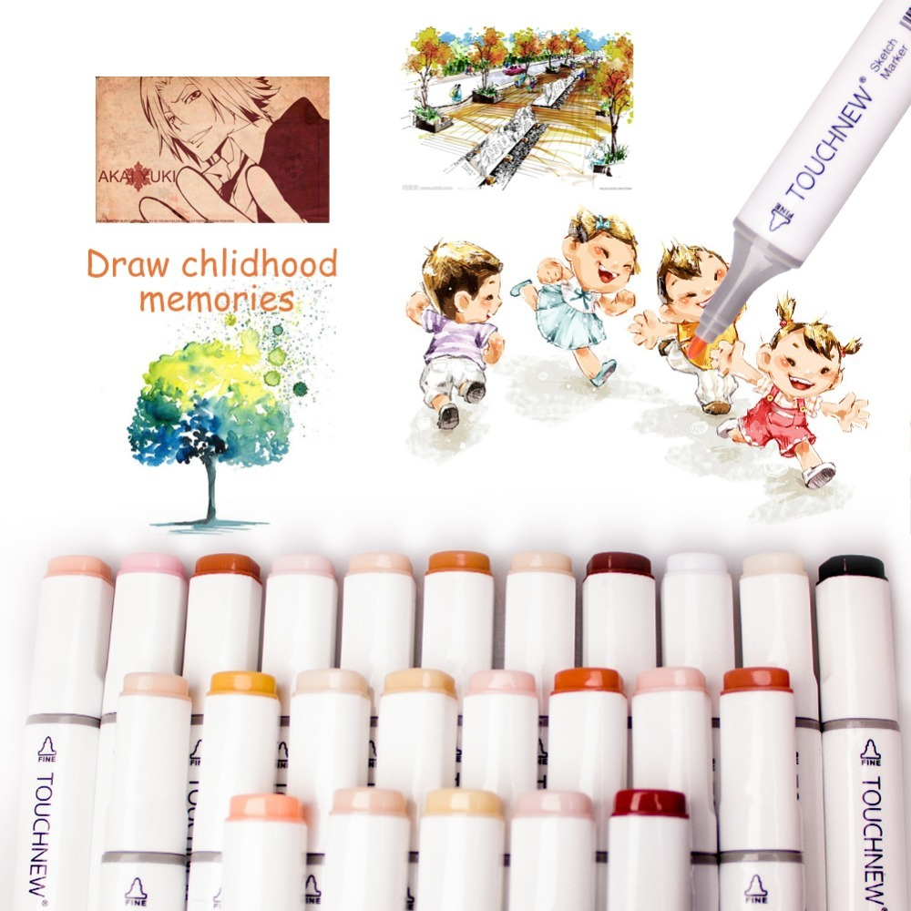 Permanent Sketch Anime Skin Marker Pen Set for Skin Tone Pens Artist Dual Tip Twin Alcohol Based Art Marker Set