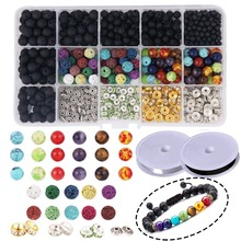 600 pçs lava grânulo pulseira kit granel preto lava pedra rocha diy jóias que faz a caixa de armazenamento colar corda de cristal elástico