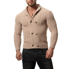 84629272ca Youth Solid Men Knitted Cardigan Sweater V-Neck Double Breasted Mens Long  Sleeve Cardigan Slim