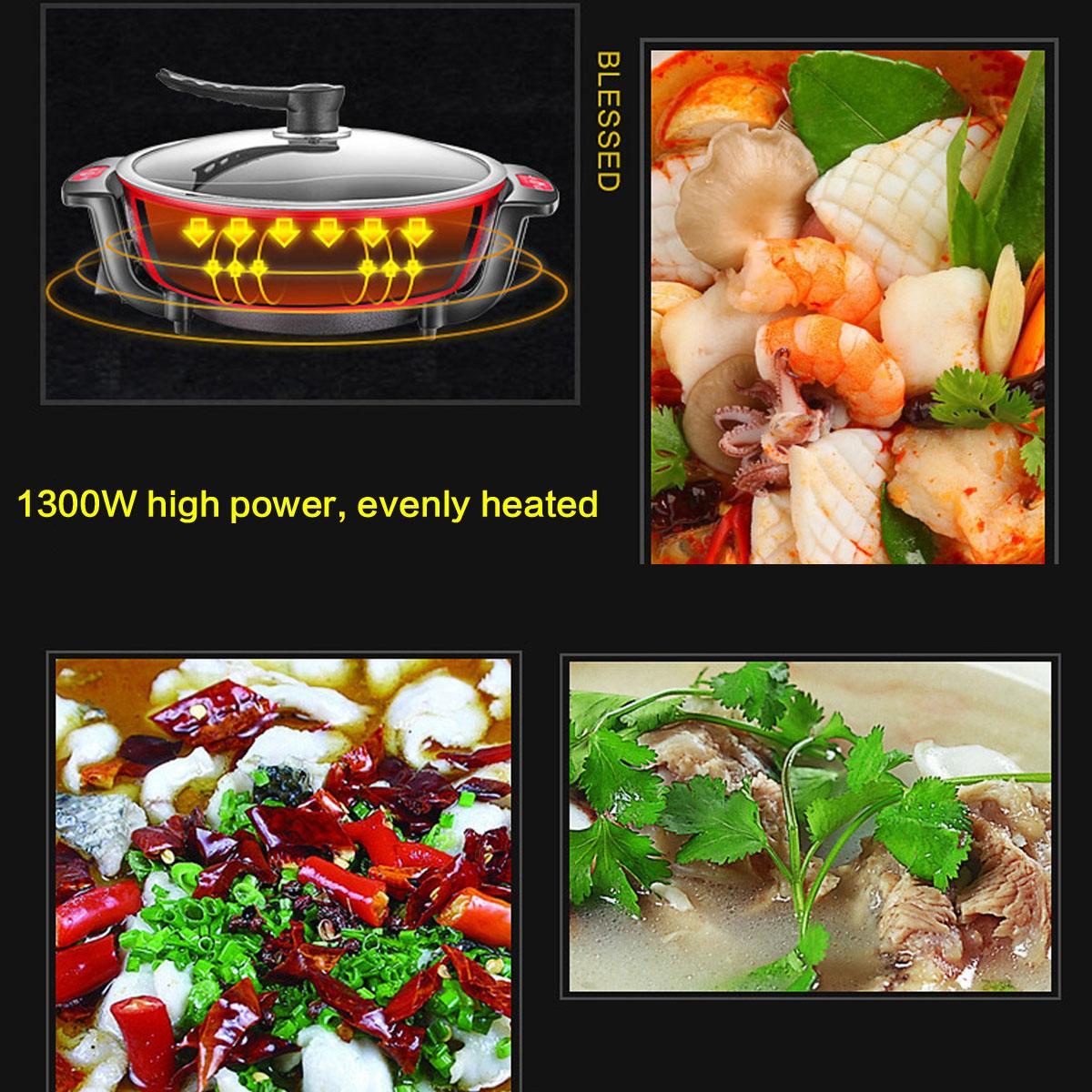 220 V 1300 W 6L électrique Hot Pot 32 cm cuisine soupe marmite ustensiles de cuisine antiadhésif pour cuisinières à Induction marmite - 4