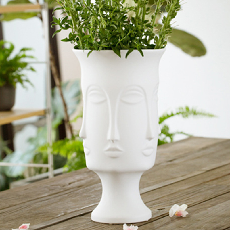 Image 3 - Nordic Minimalism Abstract Ceramic Vase Face Art Matte Glazed Decorative Head Shape Vase White Ceramic-in Flower Pots & Planters from Home & Garden