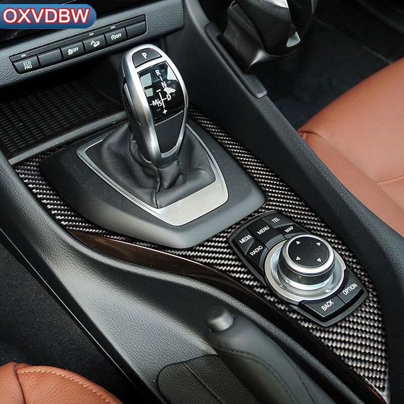 Panneau d'engrenage de Console centrale en Fiber de carbone panneau multimédia garniture de voiture autocollants style pour bmw E84 X1 (2011-2015) accessoires