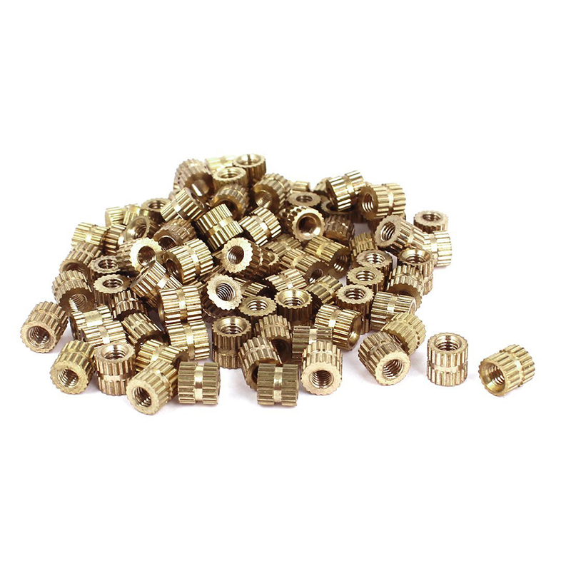 <font><b>M3x5mm</b></font>(L)-5mm(OD) Metric Threaded Brass Knurl Round Insert Nuts 100pcs image