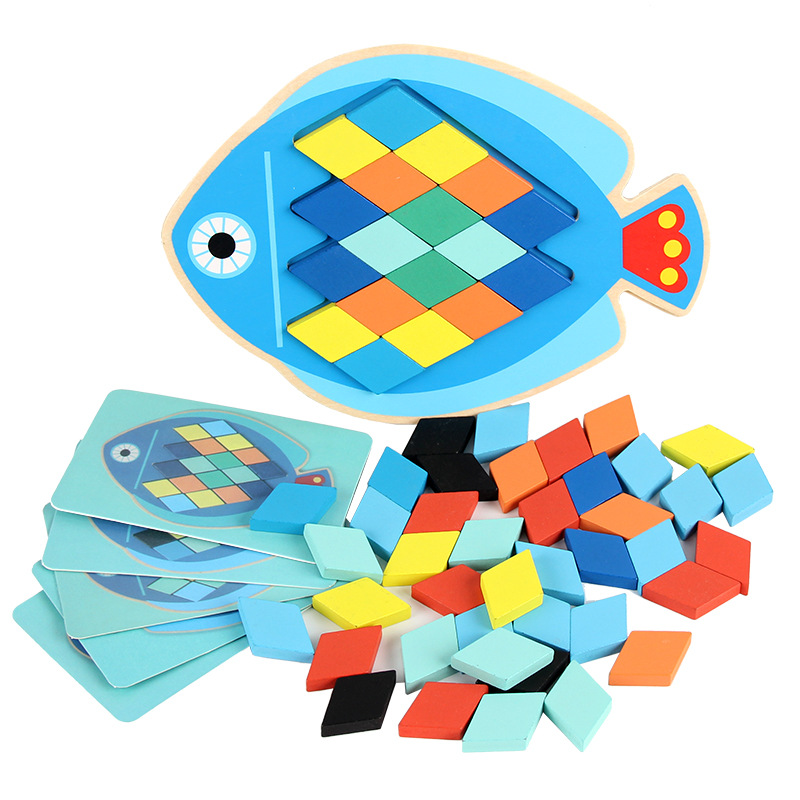 3D Wooden Diamond Triangle Puzzle Jigsaw Colorful Square IQ Game Brain Teaser Intelligent Math Educational Toys For Kids 56