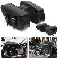 Pair Universal Motorcycle Saddle Leather Storage Tool Pouch Side Luggage Bags For Honda/Yamaha/Suzuki