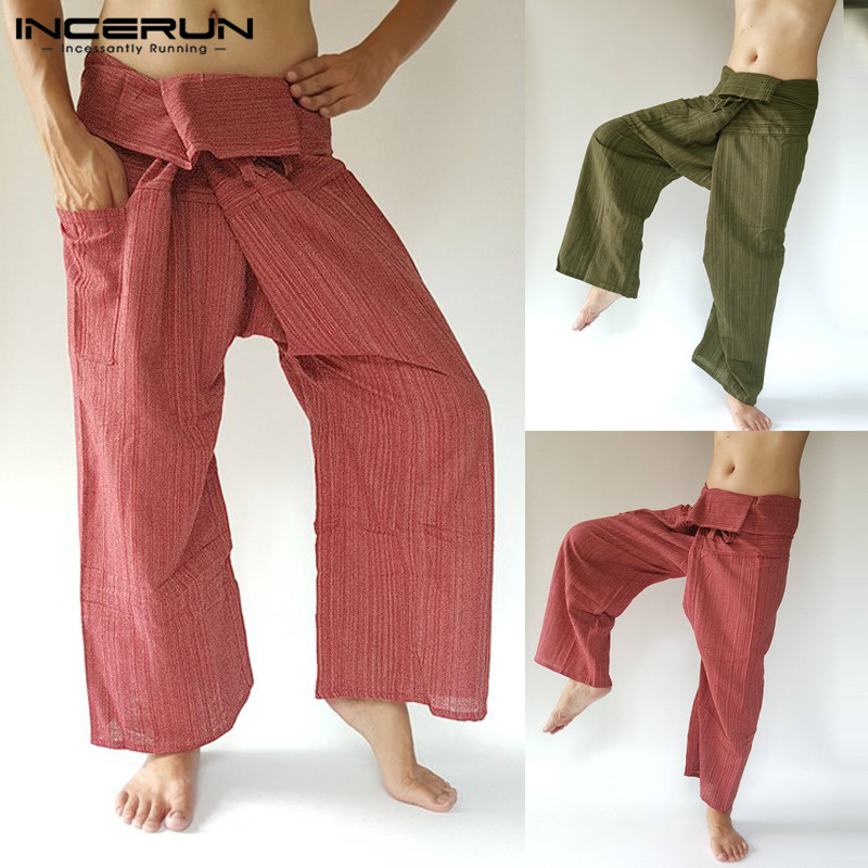 INCERUN 2020 Men Thai Fisherman Pants Striped Cotton Joggers Loose Casual Yoga-pants Workout Pockets Wide Leg Trousers Men S-5XL