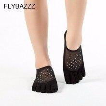 Women Anti Slip Black Sexy Mesh Yoga Socks Ladies Sports Pilates Ballet Dance jewel Sparkling Five Fingers Toe