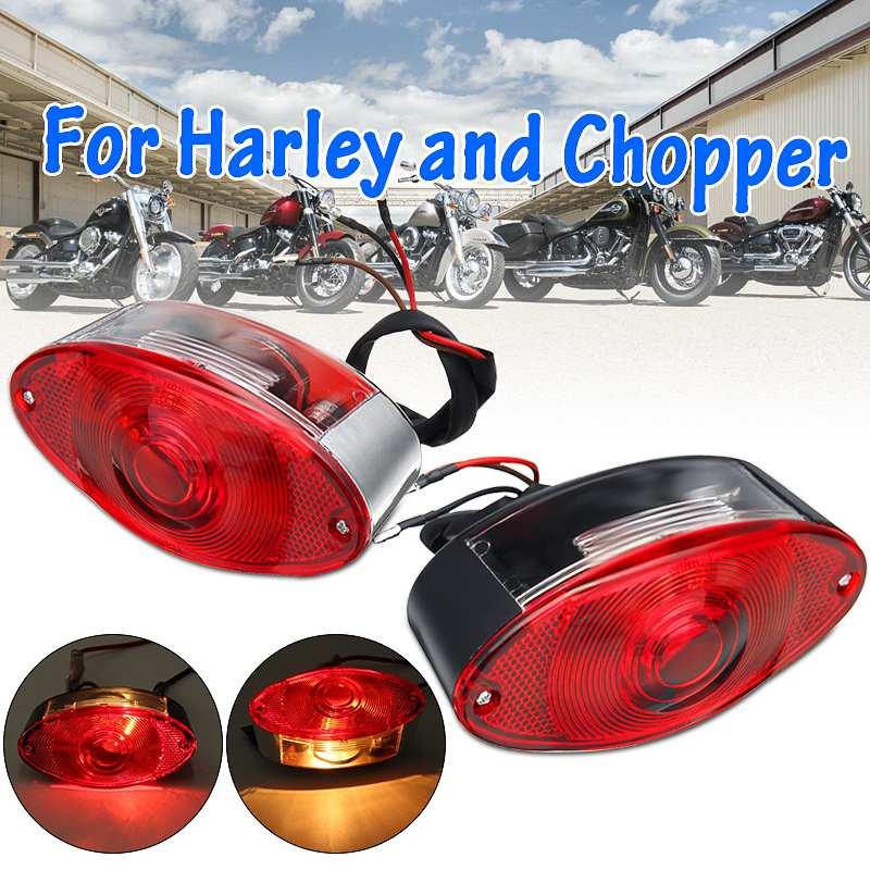 12V Motorcycle Cat Eye Rear Brake Light Tail Stop Lamp Red For Harley Chopper