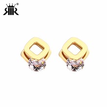 RIR Stainless Steel Double Layer Square Crystal Stud Earrings Geometric Ladies Jewellery Dance Party Bridesmaid Gift