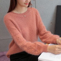 New Loose Sweater New Wool Sleeves Hook Flower Solid Sweater Pullover Long Sleeve Cardigan Sweater