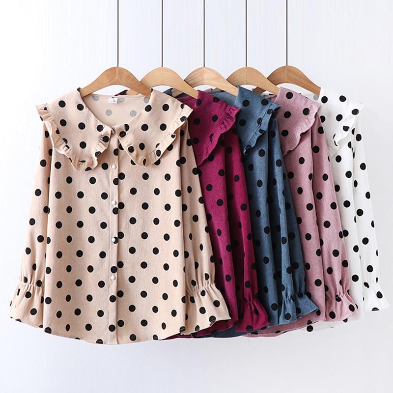 Peter Pan Collar Corduroy Women Shirt 2019 Spring Korean Fashion Ladies Ruffles Tops Flare Sleeve Polka Dot Cute Blouse Women in Blouses amp Shirts from Women 39 s Clothing