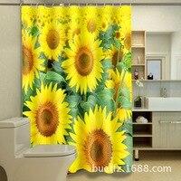 3D ひまわり印刷シャワーカーテン防水ポリエステル浴室カーテンクールシャワーカーテン送料無料