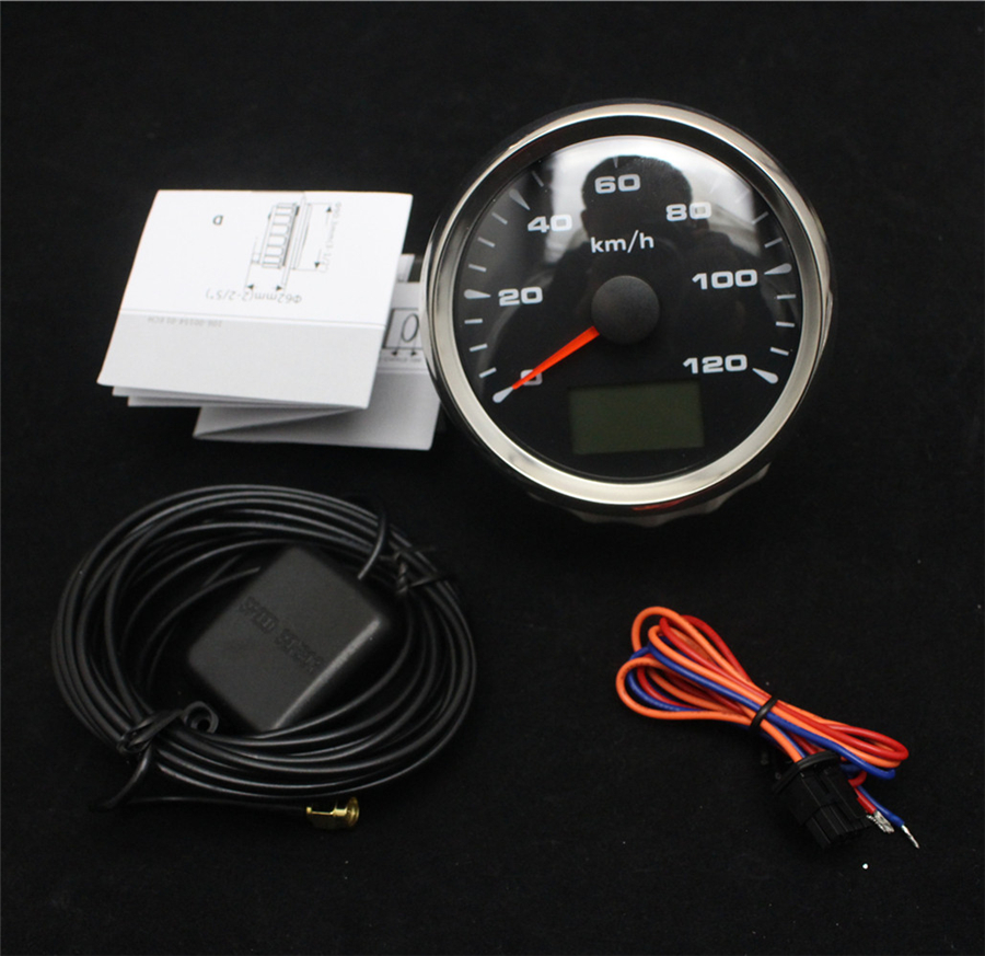 New Style 9 32V Multifunction GPS Speedometer Gauges 0 120km h 85mm Waterproof 316L Bezel with