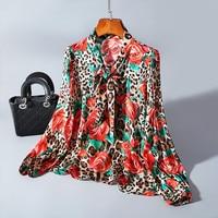 Высококачественная Новинка 2019 года, Модная шелковая блузка с цветочным принтом, Женская богемная рубашка с бантом, женская блузка