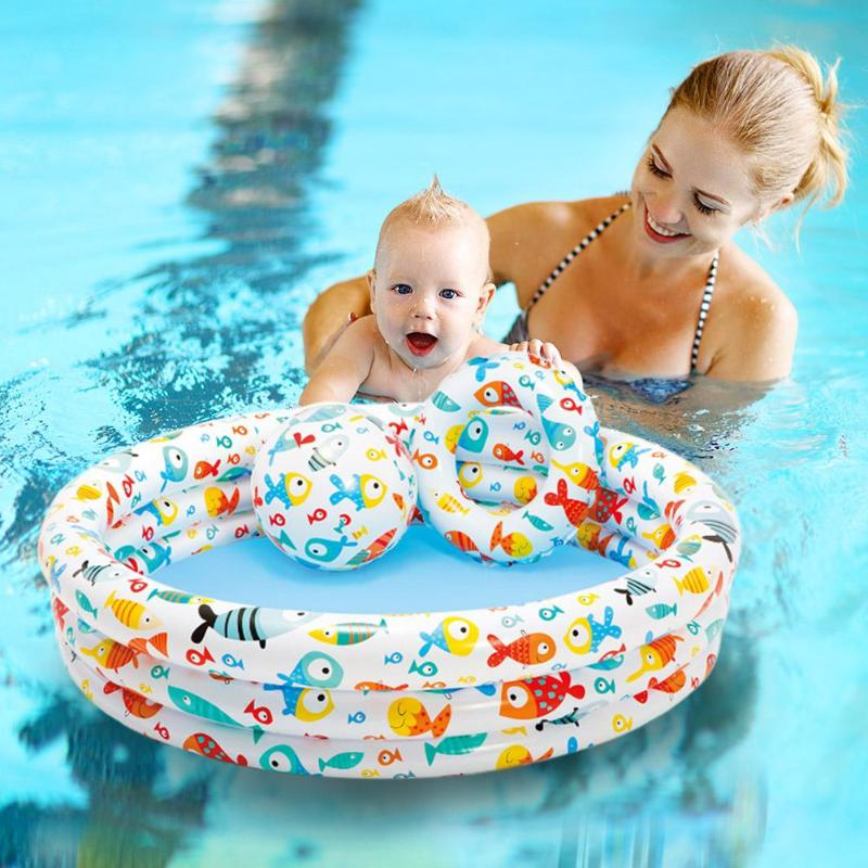 3pcs Portable Outdoor Baby Swimming Pool Air Cushion Children Inflatable Trinuclear Bathtub Round Basin Summer Water Pool Toys Lustrous Surface Swimming Pool Mother & Kids