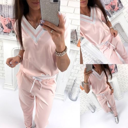 Women Casual Tracksuit Sweatsuit Long Sleeve Autumn Hoodie Suit 2PCS Pajamas Set Pullover Top V-neck Pink Pants
