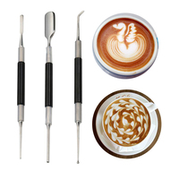 3pcs Stainless Steel Professional Coffee Art Pen Drawing Hook Needle Barista Tool Latte Cappuccino Espresso Coffee Decoration
