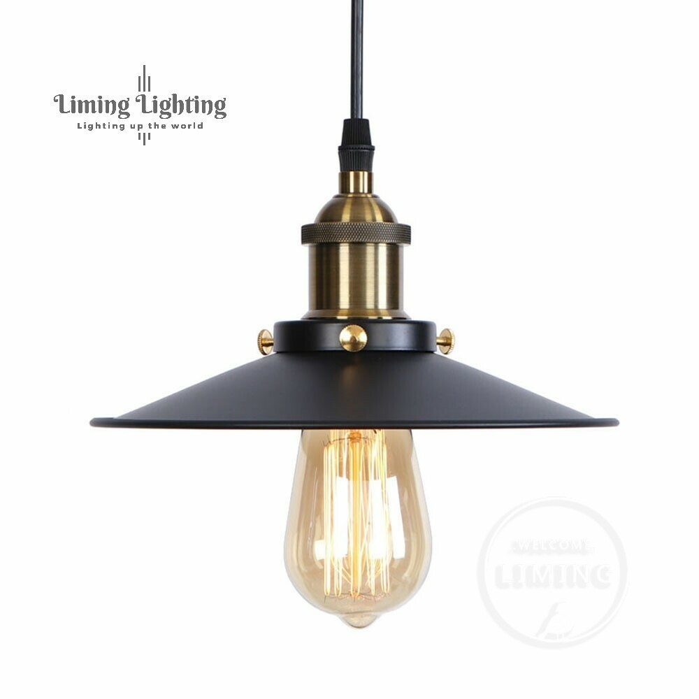 RH Loft Vintage Copper Base Edison LED Bulb Iron Shade Ceiling Hanging Industrial Pendant Lamp Light Lighting E27/E26 110V/220V