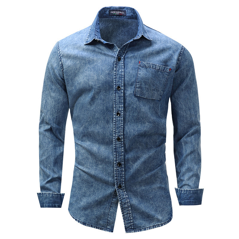 32b3d5e151bc Fashion Men Chambray Shirt Blue with Pocket Denim Like Cotton Button-down  Man Shirts Slim