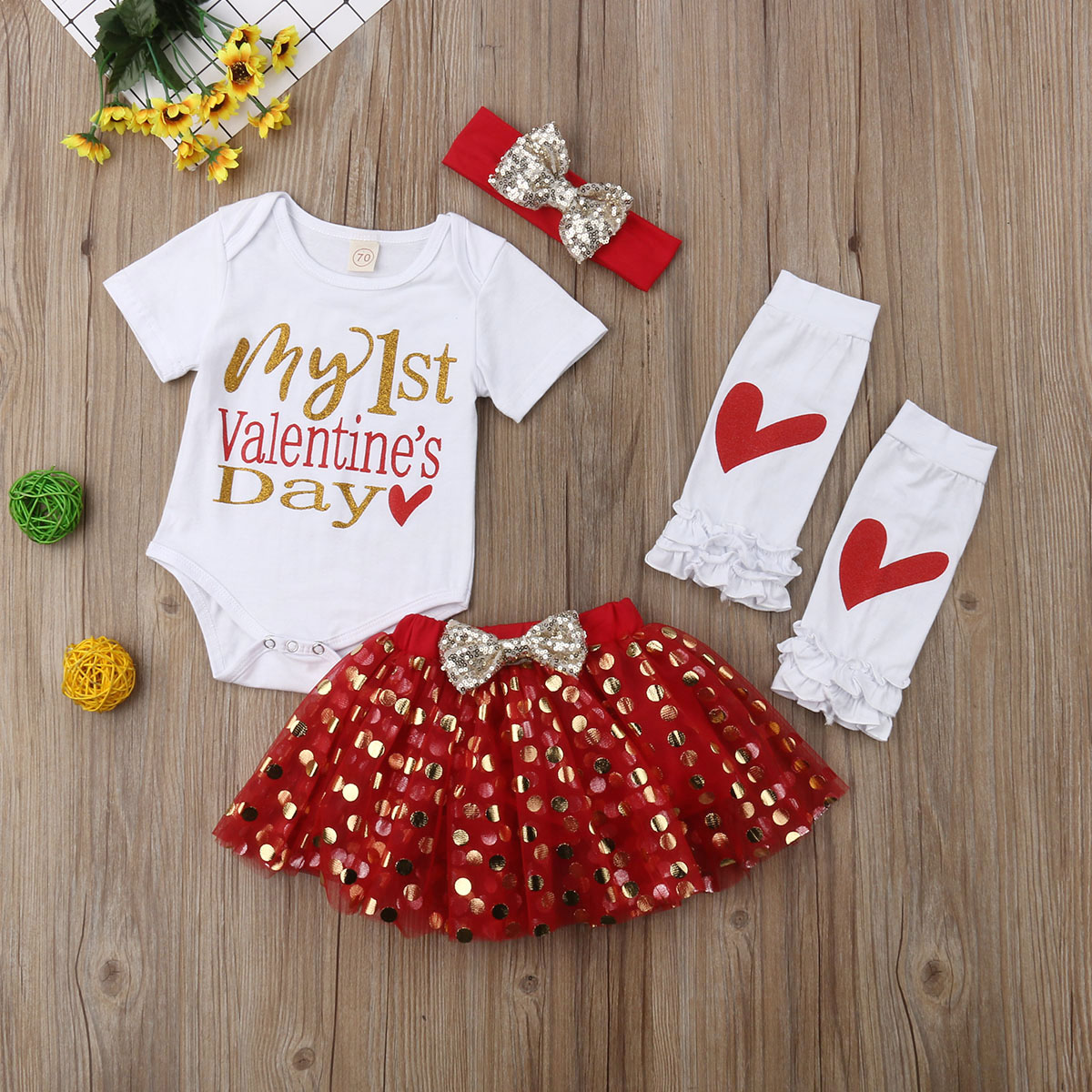48ba41d43ebc Lovely 4Pcs Baby Girls My 1st Valentine s Day Rompers Set Short Sleeves  Tops+Dots Tutu