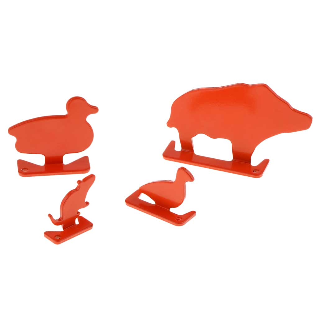 4pcs Metal Animal Targets Set Shooting Plinking Target for Fun Competition and Practice Orange Paintball Accessories
