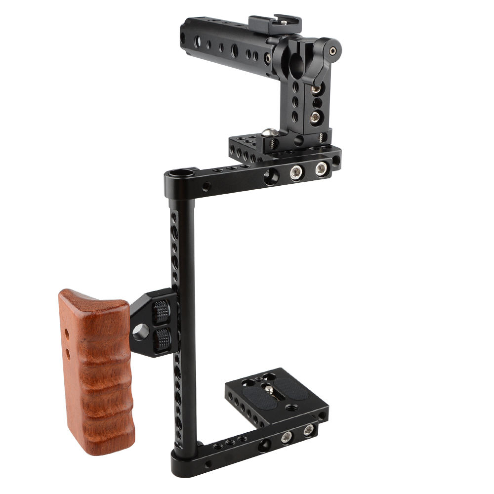 CAMVATE DSLR Camera Cage Protector Camera Stabilizer Top Handle Wood Grip For Canon 600D 70D 80D, GH5C1561