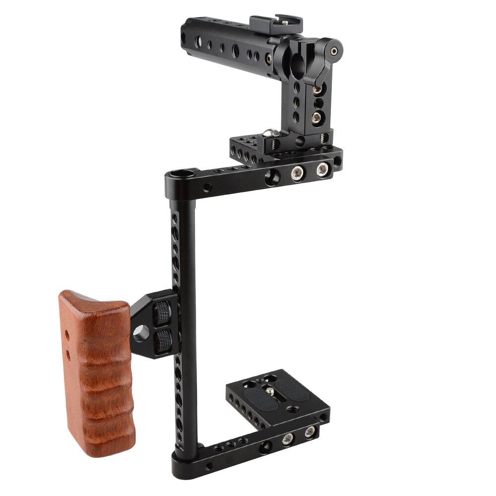 CAMVATE DSLR caméra Cage protecteur caméra stabilisateur poignée supérieure poignée en bois pour Canon 600D 70D 80D, GH5C1561