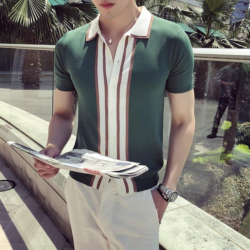 Fashion Short Sleeve   Polo   Camisa Masculina   Polo   Playera   Polo   Hombre Black Green Contrast Knit Stripe   Polo   Shirt British Men