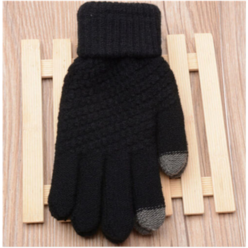 Hirigin Women Touch Screen Gloves Lady Winter Warm Fleece Lined Thermal Knitted Mittens