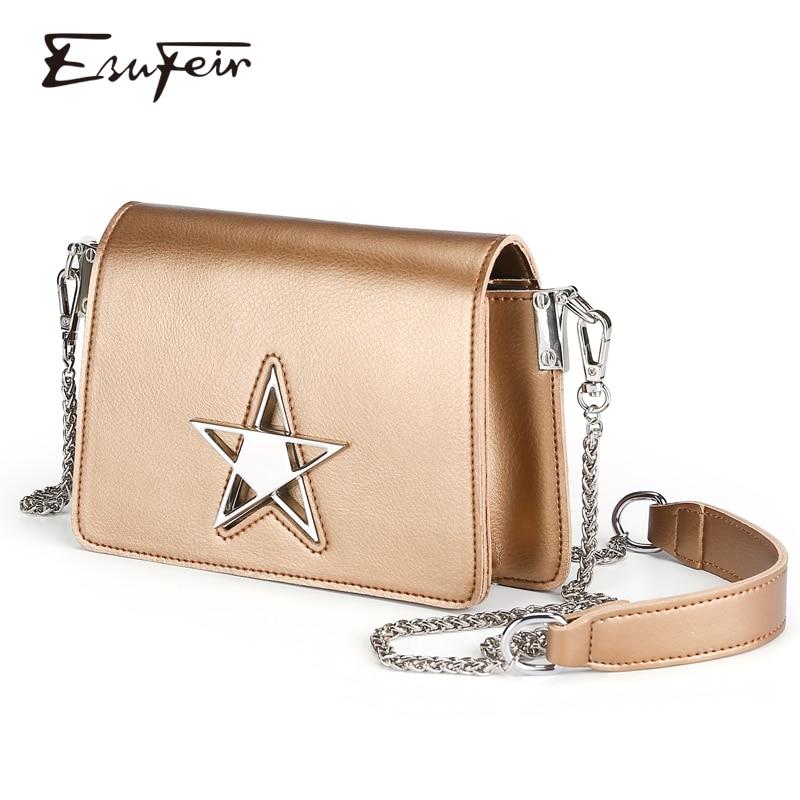 ESUFEIR Genuine Leather Women Shoulder Bag Fashion Crossbody Bag Ladies Chain Small Women Bag Famous Brand Female Handbag Purse