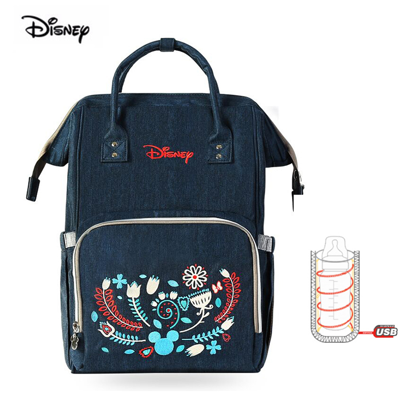 Disney Mommy Pack Wave Point Waterproof Multifunctional Large Capacity Shoulder Backpack Mom Milk Bag Mother And Baby Bag