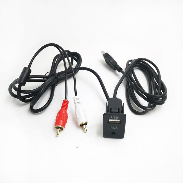 1 м для машины, кабель RCA адаптер переключатель 3,5 мм аудио разъем AUX USB кабель удлинитель панель с креплениями RCA кабель для Toyota Volkswagen