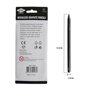 EZONE 6PCS Professional Pure Carbon Sketch Pens 2B/4B/6B/8B/2H/HB Woodless Charcoal Pencil For Sketching Drawing Tool Art Supply