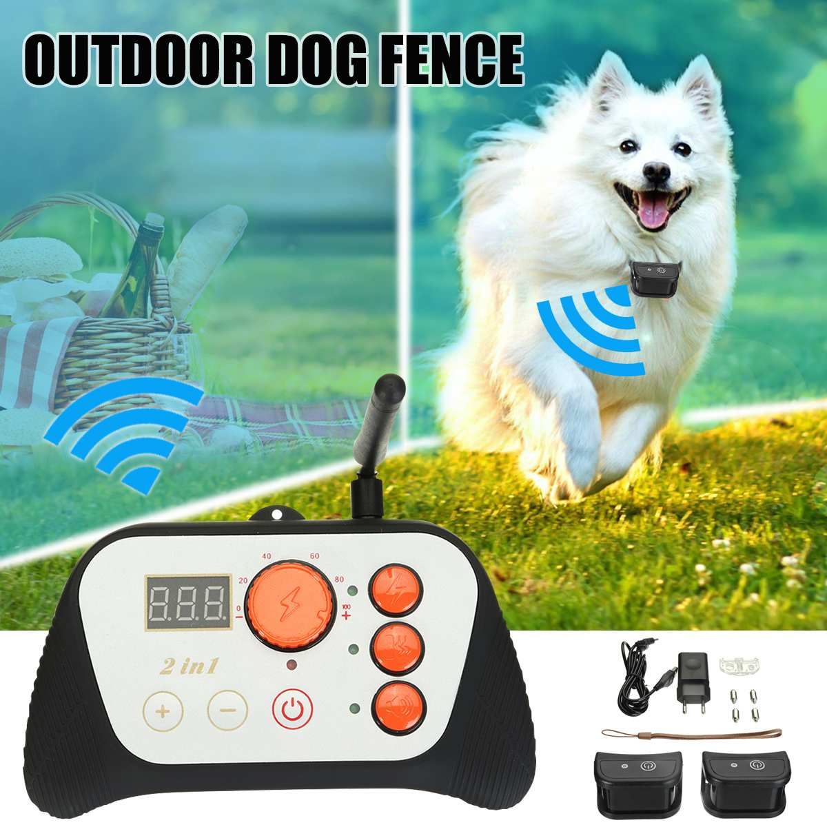 Outdoor 2in1 Wireless 2 Dog Fence Pet Containment System RechargeableOutdoor 2in1 Wireless 2 Dog Fence Pet Containment System Rechargeable