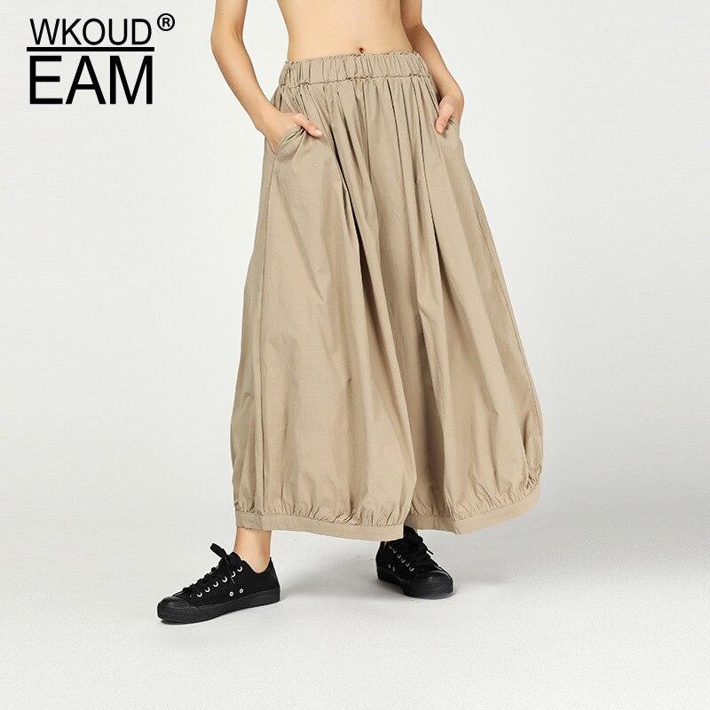WKOUD EAM 2019 New Spring Summer High Elastic Waist Loose Black Brief Linen   Wide     Leg     Pants   Women Trousers Fashion JR01